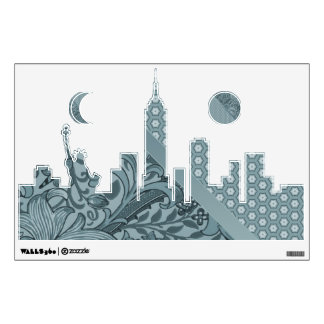 NYC Skyline in Sea Foam Wall Sticker