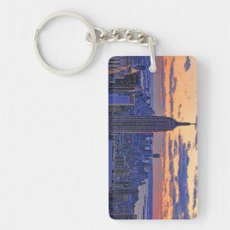 NYC Skyline just before sunset #2 Double-Sided Rectangular Acrylic Keychain