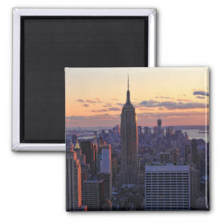 NYC Skyline just before sunset 2 Inch Square Magnet