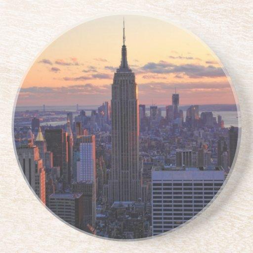 NYC Skyline just before sunset Beverage Coaster