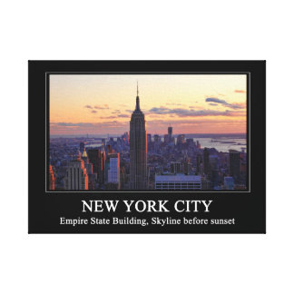 NYC Skyline just before sunset, captioned Canvas Print