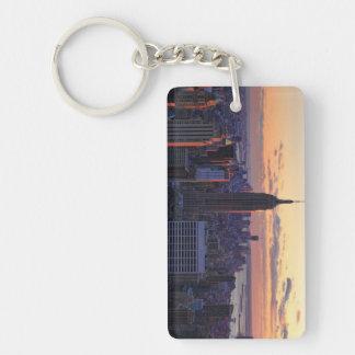 NYC Skyline just before sunset Double-Sided Rectangular Acrylic Keychain