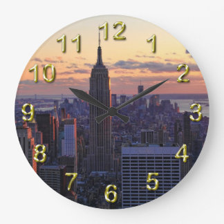NYC Skyline just before sunset Large Clock