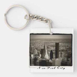 NYC Skyline Single-Sided Square Acrylic Keychain