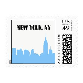 NYC Skyline Lt Blue Silhouette Empire St Bldg sm Postage