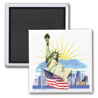 NYC Skyline 2 Inch Square Magnet