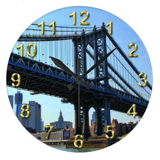 NYC Skyline: Manhattan Bridge #3 Wallclock