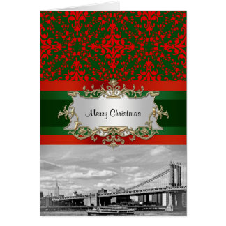 NYC Skyline Manhattan Bridge Damask Xmas Card
