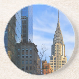 NYC Skyline: Midtown View of the Chrysler Building Beverage Coasters