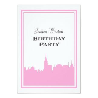 NYC Skyline Pink Silhouette #2 DIY Birthday 5x7 Paper Invitation Card
