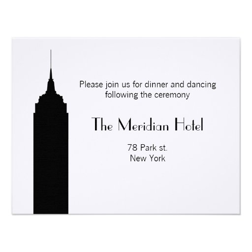 NYC Skyline Recption Card - Empire State Building Invite
