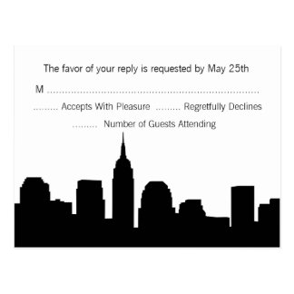 NYC Skyline RSVP Postcard - Black
