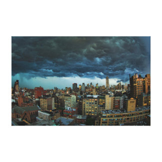 NYC Skyline: Scary massive derecho storm cloud Stretched Canvas Prints