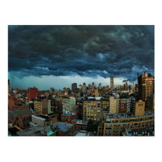 NYC Skyline: Scary massive derecho storm cloud Postcard