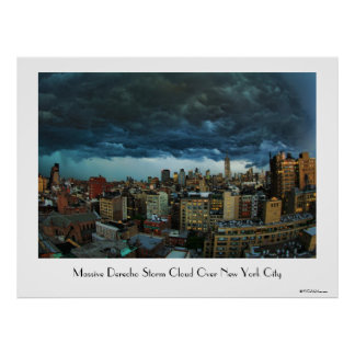 NYC Skyline: Scary massive derecho storm cloud Posters