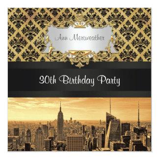 NYC Skyline Sepia B5 Blk Rib Damask Birthday Invit Card
