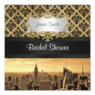NYC Skyline Sepia B5 Blk Rib Damask Bridal Shower Card