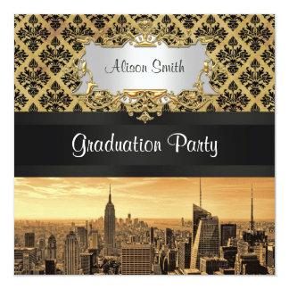 NYC Skyline Sepia B5 Blk Rib Damask Graduation Inv Card