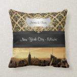 NYC Skyline Sepia B5 Blk Rib Damask Pillow