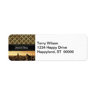 NYC Skyline Sepia B5 Blk Rib Damask Return Address Label
