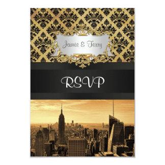 NYC Skyline Sepia B5 Blk Rib Damask RSVP Card