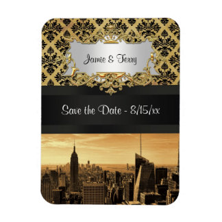 NYC Skyline Sepia B5 Blk Rib Damask Save the Date Rectangular Magnets