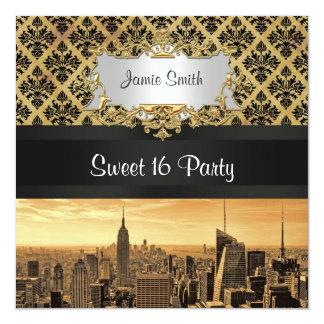 NYC Skyline Sepia B5 Blk Rib Damask Sweet 16 Invit Card