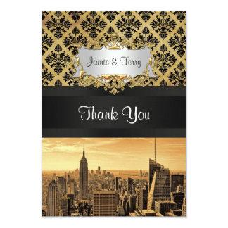 NYC Skyline Sepia B5 Blk Rib Damask Thank You Card