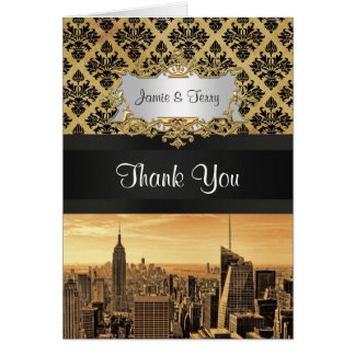 NYC Skyline Sepia B5 Blk Rib Damask Thank You Stationery Note Card