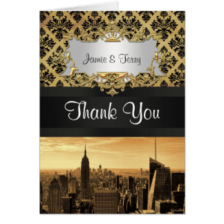 NYC Skyline Sepia B5 Blk Rib Damask Thank You Note Stationery Note Card