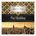 NYC Skyline Sepia B5 Blk Rib Damask Wedding Invite