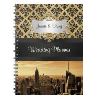 NYC Skyline Sepia Blk Rbn Damask Planner Notebook