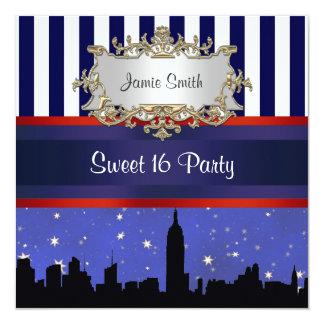 NYC Skyline Sil Blue Sky2 Blue Wht Stripe Sweet 16 Personalized Invite