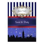 NYC Skyline Sil Blue Sky2 Blue Wht Strp Sweet 16 V Invitation