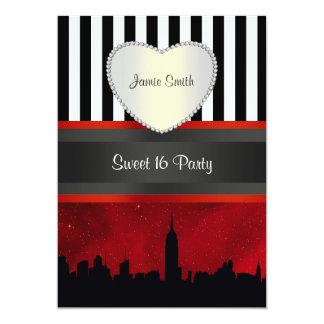 "NYC Skyline Sil Red Sky Blk Wh Stripe P Sweet 16 V 5"" X 7"" Invitation Card"