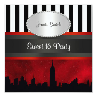 NYC Skyline Sil Red Sky Blk Wht Stripe P Sweet 16 Personalized Invitations