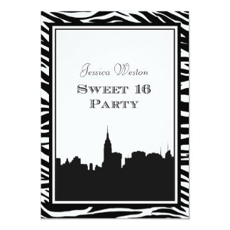 NYC Skyline Silhouette #2 Zebra Sweet 16 Card