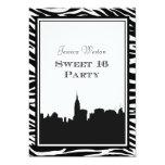 NYC Skyline Silhouette #2 Zebra Sweet 16 Invitation