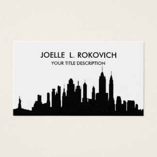 NYC Skyline Silhouette Black & White Generic Business Card