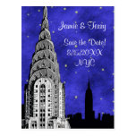 NYC Skyline Silhouette Blue Starry Save the Date 2 Post Cards