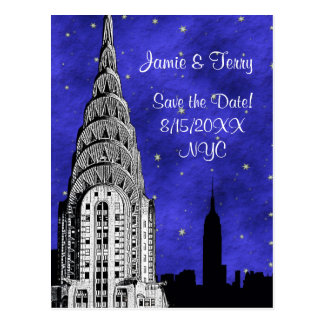 NYC Skyline Silhouette Blue Starry Save the Date 2 Postcard