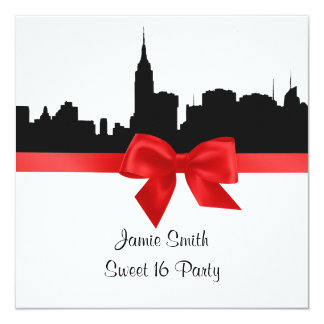 NYC Skyline Silhouette BW Red Sweet 16 SQ Custom Announcement