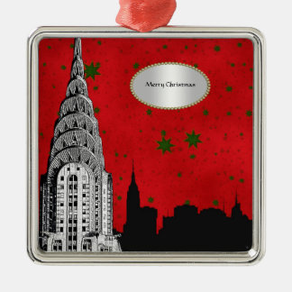 NYC Skyline Silhouette, Chrysler Building Xmas #1 Square Metal Christmas Ornament