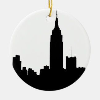 NYC Skyline Silhouette, Empire State Bldg #1 Ceramic Ornament