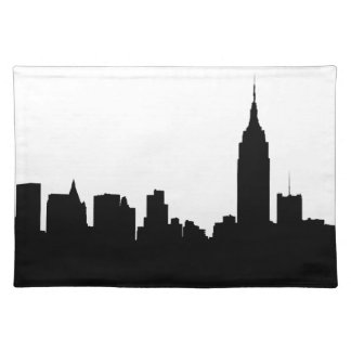 NYC Skyline Silhouette, Empire State Bldg #1 Cloth Placemat