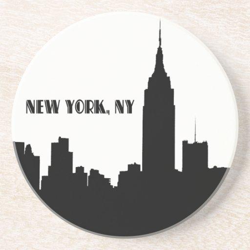 NYC Skyline Silhouette, Empire State Bldg #1 Drink Coasters
