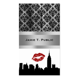 NYC Skyline Silhouette, Empire State Bldg #1 Kiss Double-Sided Standard Business Cards (Pack Of 100)