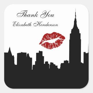 NYC Skyline Silhouette, Empire State Bldg #1 Kiss Square Sticker