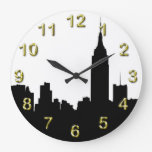 NYC Skyline Silhouette, Empire State Bldg #1 Large Clock