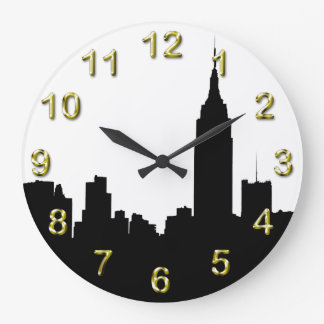 NYC Skyline Silhouette, Empire State Bldg #1 Large Clock